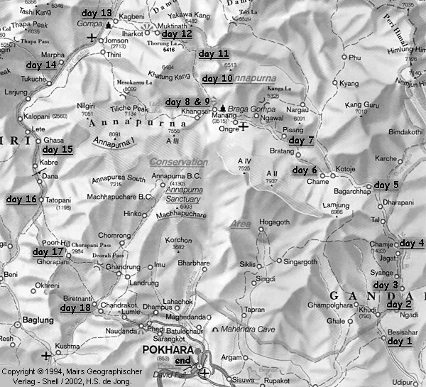Annapurna Circuit Trekking Location Map
